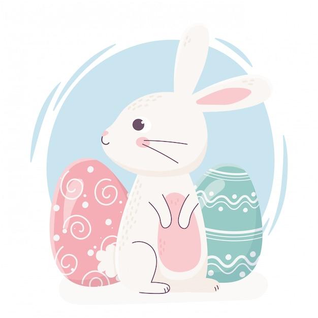 Coelho bonito de feliz páscoa, olhando de lado com ilustração de celebração de decoração de ovos Vetor Premium