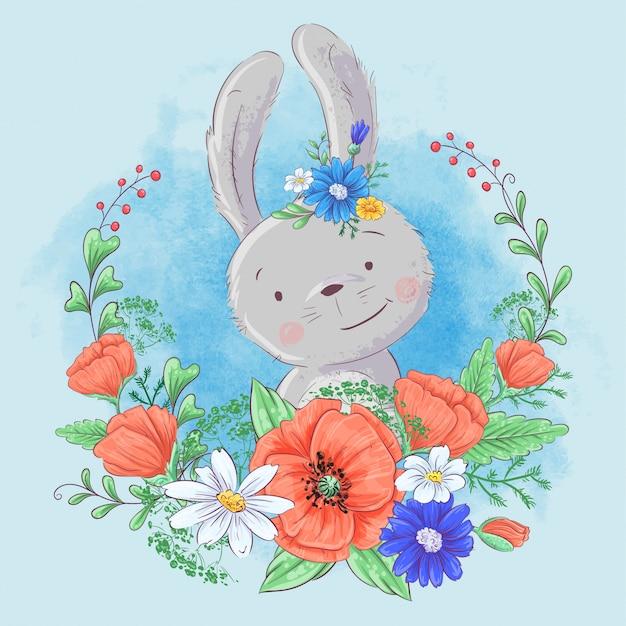Coelho bonito dos desenhos animados em uma grinalda de papoulas e margaridas, flores silvestres. Vetor Premium
