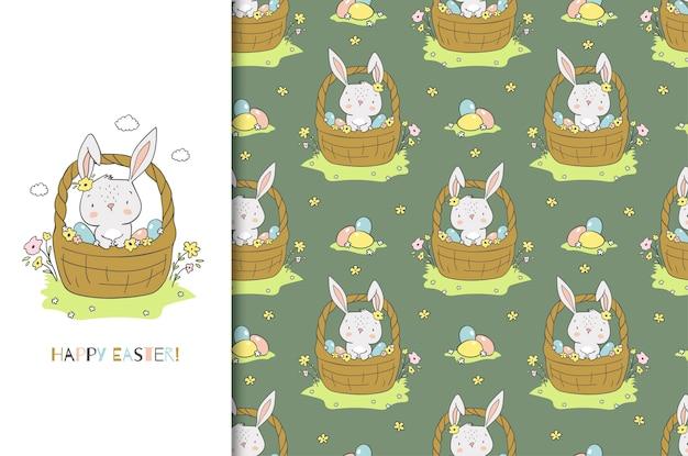 Coelho bonito dos desenhos animados na cesta. cartão e conjunto padrão sem emenda. desenhado à mão Vetor Premium