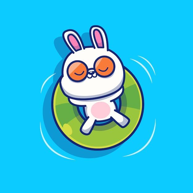 Coelho bonito relaxar com natação ring icon illustration. conceito de ícone de verão animal isolado. estilo cartoon plana Vetor Premium