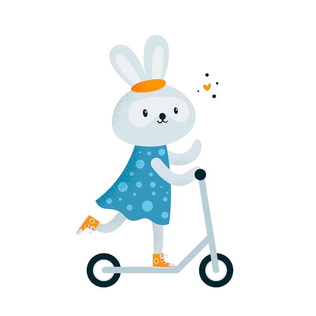 Coelho coelhinho fofo no vestido, andar de scooter Vetor Premium