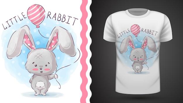 Coelho com balão de ar - ideia para imprimir t-shirt Vetor Premium