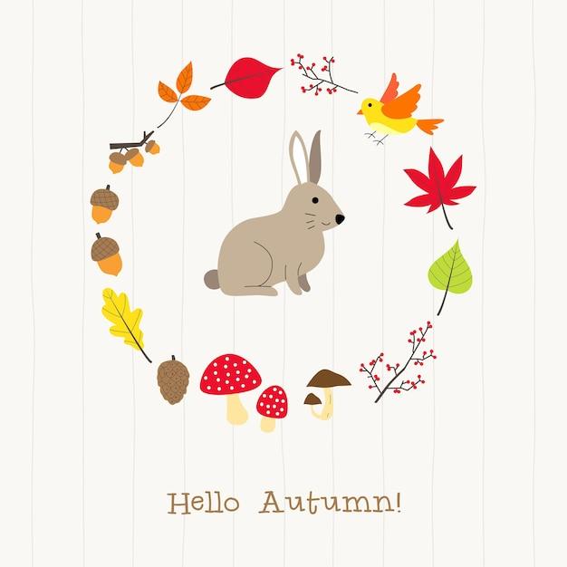 Coelho, com, outono, cartão quadro Vetor Premium