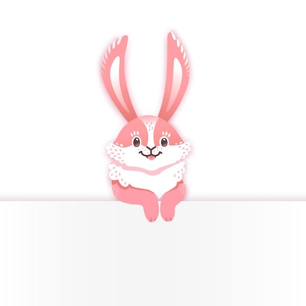Coelho de desenho animado a sorrir. coelhinho engraçado. lebre fofa. Vetor Premium