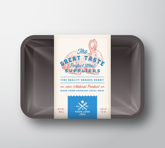 Coelho de ótimo gosto. recipiente de bandeja de plástico de carne com tampa de celofane. modelo de etiqueta de design de embalagem de tipografia retrô. desenho à mão bunny hare vintage Vetor Premium