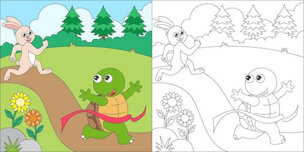 Coelho e tartaruga para colorir Vetor Premium