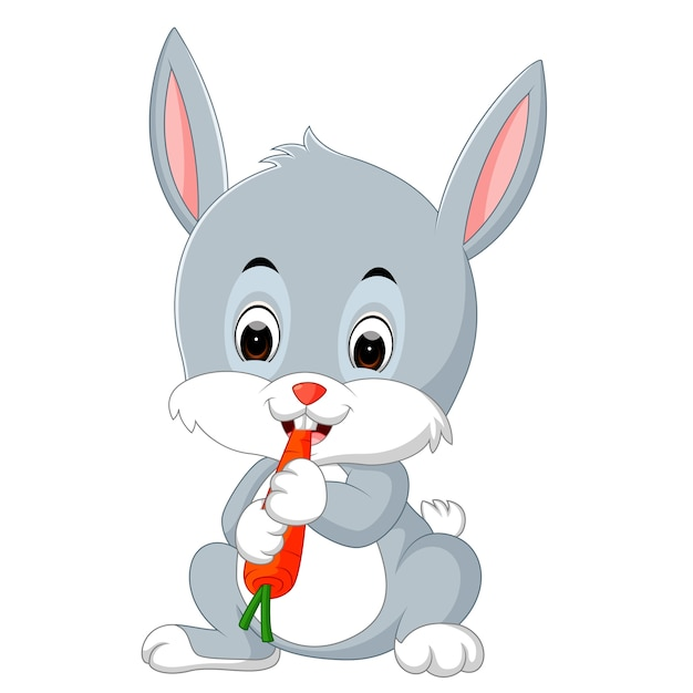 Coelho Feliz De Desenhos Animados Comendo Cenoura