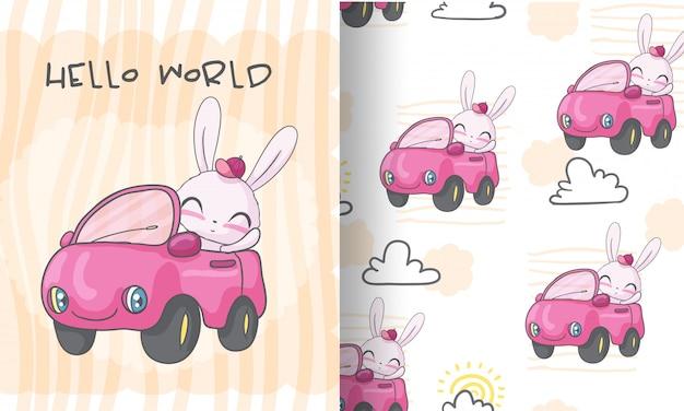 Coelho feliz na ilustração de padrão sem emenda de carro para crianças Vetor Premium