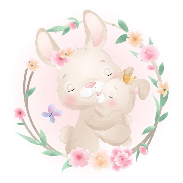 Coelho fofinho com ilustração floral Vetor Premium