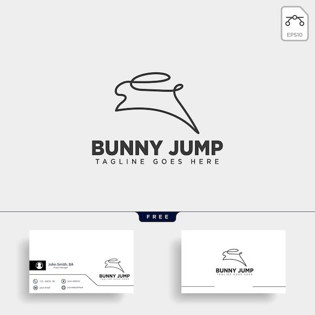 Coelho ou coelho pular logotipo de estilo de arte linha animal Vetor Premium