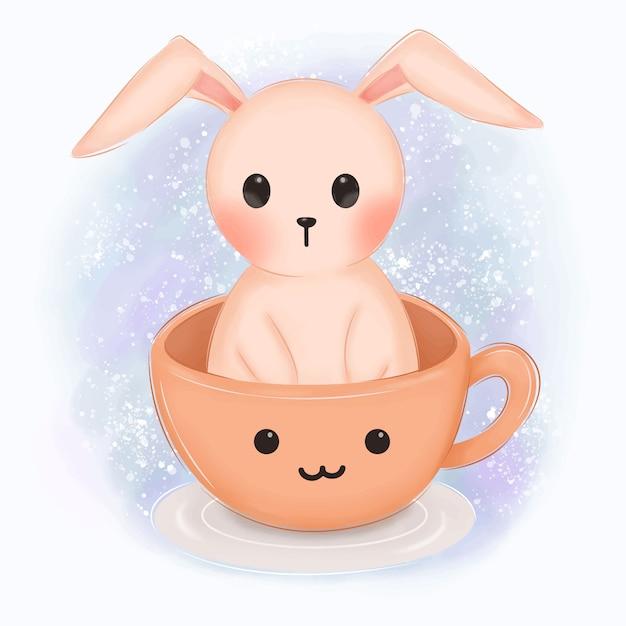 Coelho rosa em uma ilustração de xícara para decoração de berçário Vetor Premium