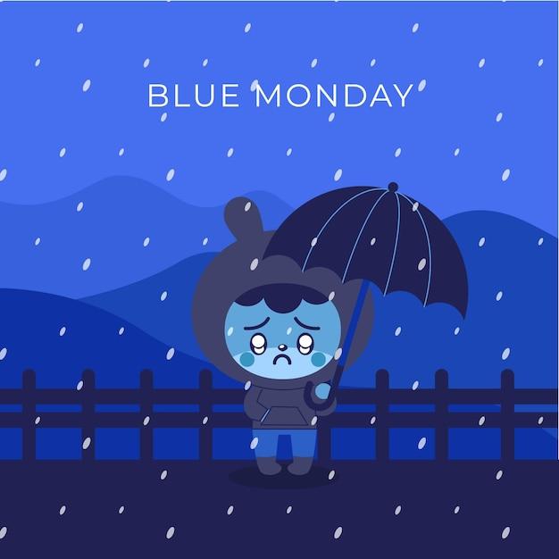 Coelho triste na segunda-feira azul Vetor grátis