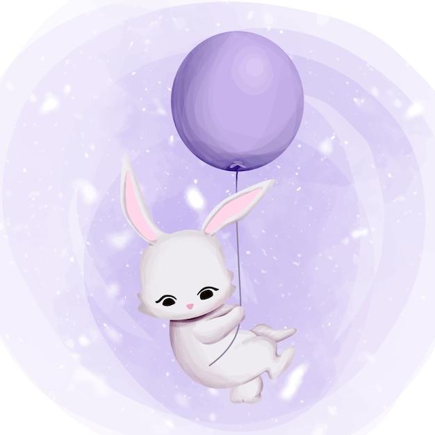 Coelho voando para o céu com balão Vetor Premium