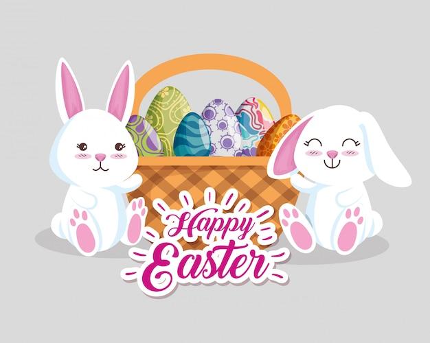 Coelhos felizes com decoração de ovos dentro da cesta Vetor grátis