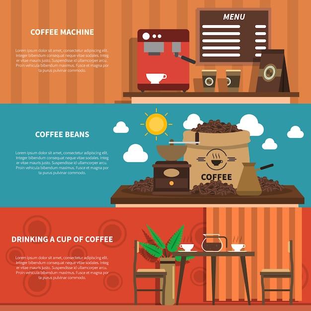 Coffee bar 2 banners horizontais planas Vetor grátis
