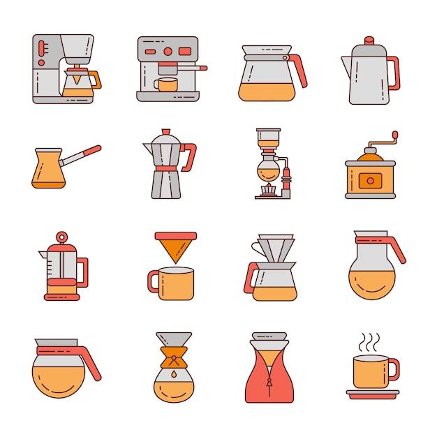 Coffee icon set design ilustração do logotipo Vetor Premium