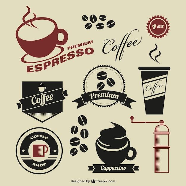 Coffee shop símbolos do vintage Vetor grátis