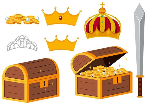 Cofres de tesouro e coroas de ouro Vetor Premium