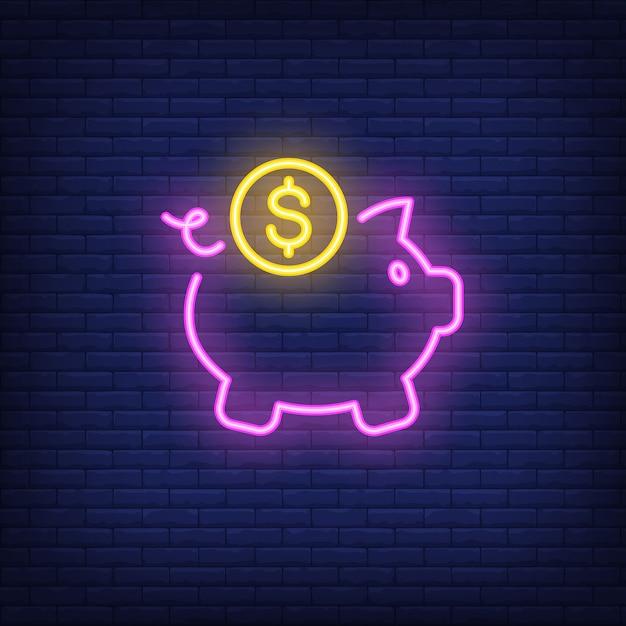 Cofrinho com moedas de dólar. elemento de sinal de néon. anúncio brilhante da noite Vetor grátis