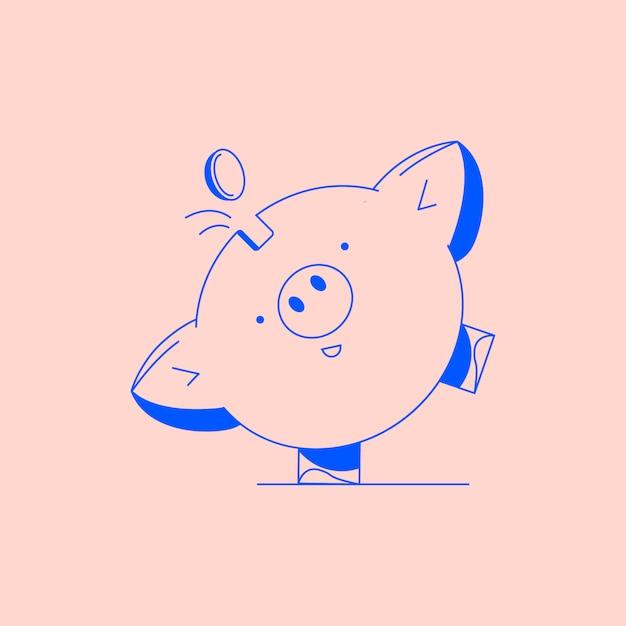 Cofrinho com moedas. ícone de poupança ou acumulação de dinheiro, investimento Vetor Premium