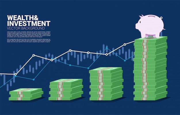 Cofrinho em cima do gráfico de barras da pilha de dinheiro Vetor Premium