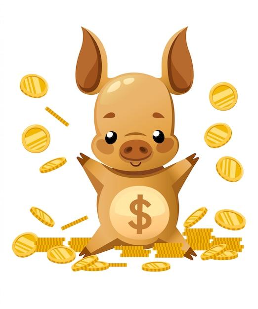 Cofrinho fofo. personagem de desenho animado . porquinho brincar com moedas de ouro. moedas caindo. ilustração em fundo branco Vetor Premium