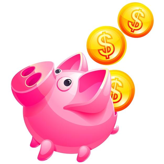 Cofrinho rosa Vetor Premium