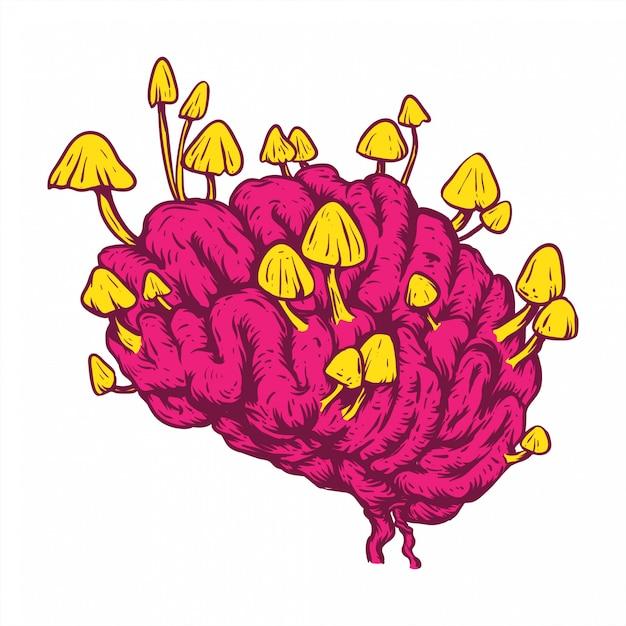 Cogumelo cérebro linha arte mão desenho conceito Vetor Premium
