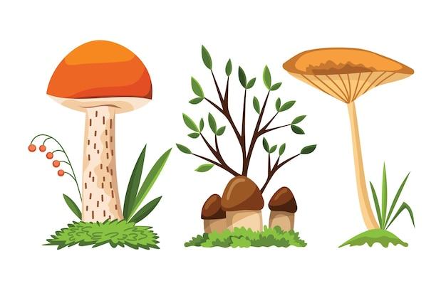 Cogumelo e cogumelo. Vetor Premium