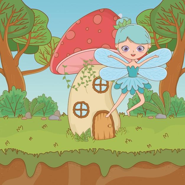 Cogumelo e personagem de conto de fadas Vetor grátis