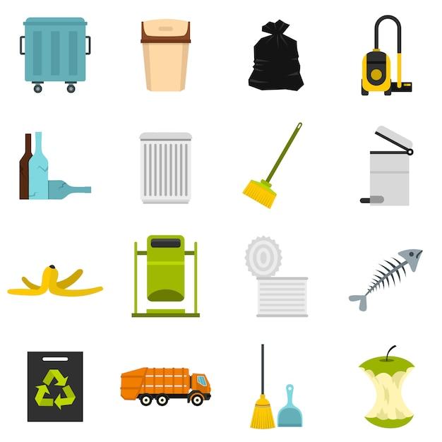 Coisas de lixo definir ícones planas Vetor Premium
