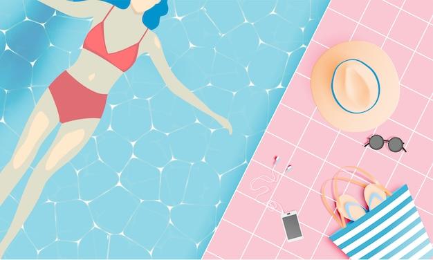 Coisas de praia estilo de arte de papel Vetor Premium
