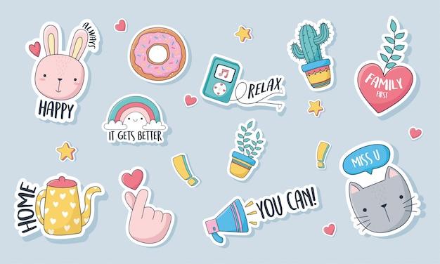 Coisas fofas para cartões adesivos ou patches decoração cartoon conjunto de ícones Vetor Premium