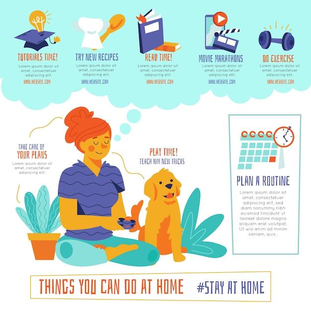 Coisas que você pode fazer em casa mulher e cachorro Vetor grátis