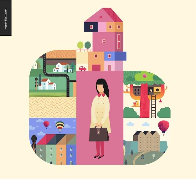 Coisas simples - composição de casas Vetor Premium
