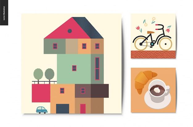 Coisas simples, conjunto de cartões postais Vetor Premium