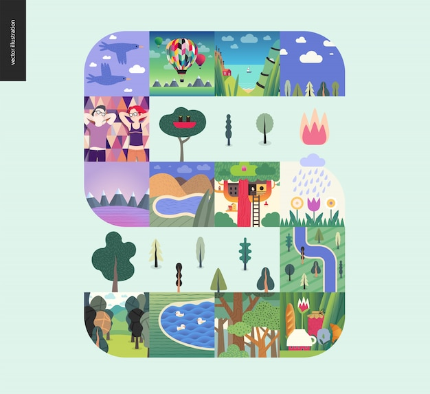 Coisas simples - floresta definir composição em um fundo de hortelã Vetor Premium