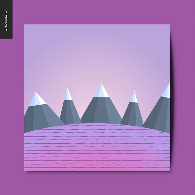 Coisas simples - montanhas no fundo do campo listrado, paisagem em tonalidade roxa, cartão postal de verão, ilustração vetorial Vetor Premium