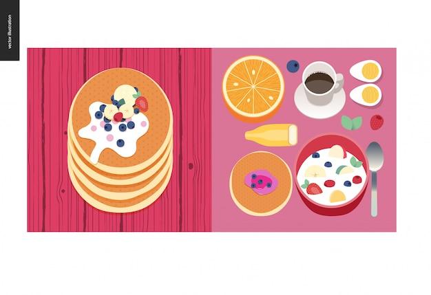 Coisas simples - refeição - ilustração em vetor plana dos desenhos animados do conjunto de café da manhã refeição com café, frutas, ovos, panquecas e cereais, pilha de panquecas com frutas, coberturas e creme - composição de refeição Vetor Premium