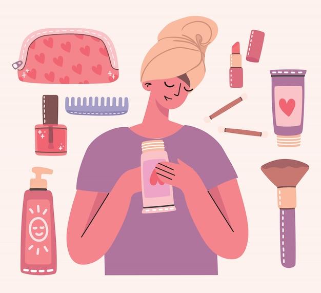 Colagem de cosméticos e produtos de cuidados do corpo em torno da menina com toalha. você é um lindo cartão. batom, loção, pente, pó, perfumes, pincel, esmalte. Vetor Premium