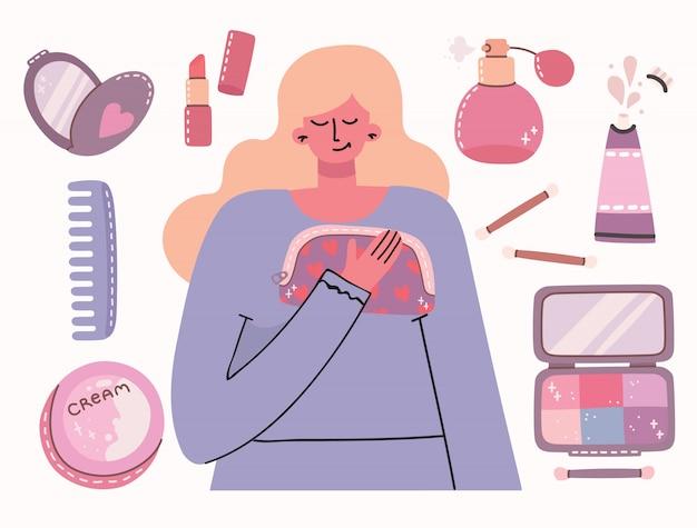 Colagem de cosméticos e produtos de cuidados do corpo em torno da menina. você é um lindo cartão. batom, loção, pente, pó, perfumes, pincel, esmalte. Vetor Premium