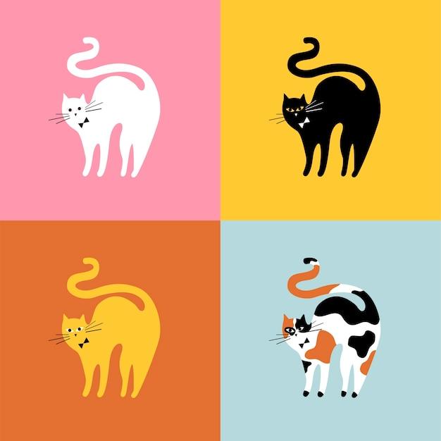 Colagem de diferentes raças de gatos Vetor grátis