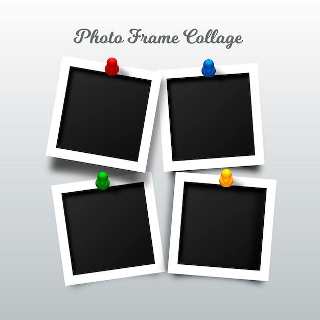 Colagem de moldura de foto em estilo realista Vetor grátis