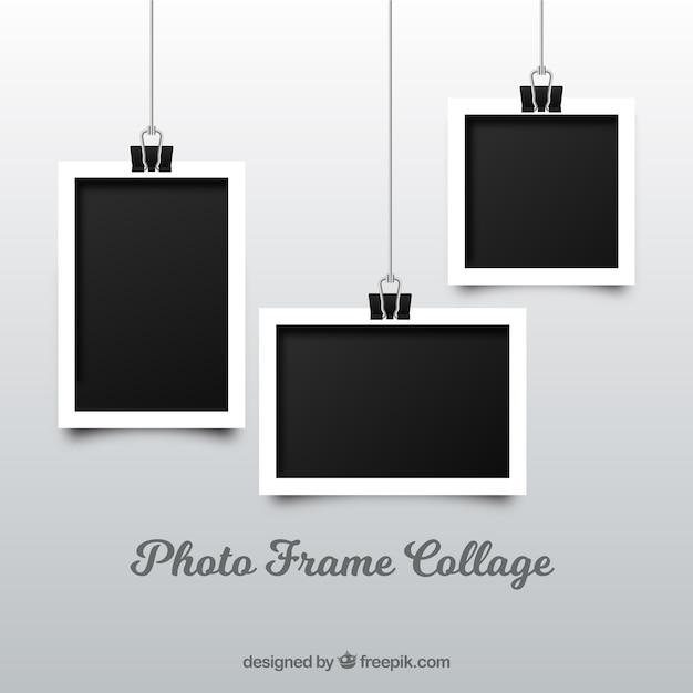 Colagem de moldura de foto em estilo realista Vetor Premium
