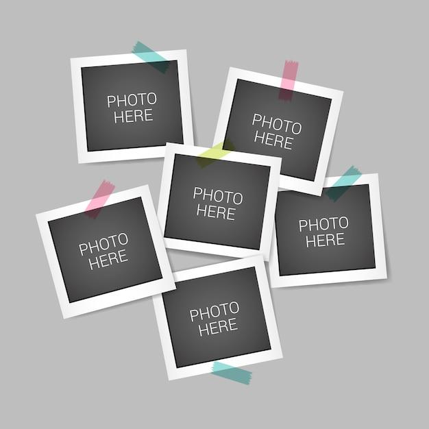 Colagem de moldura de foto instantânea com design realista Vetor Premium