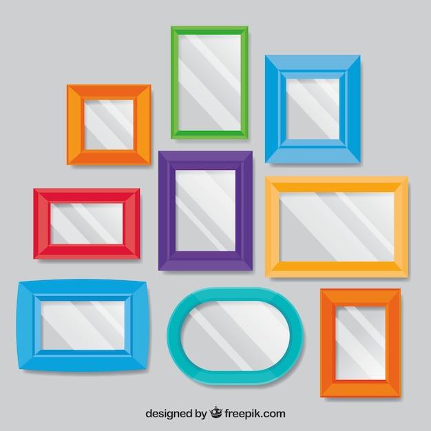 Colagem de moldura foto colorida com design plano Vetor grátis