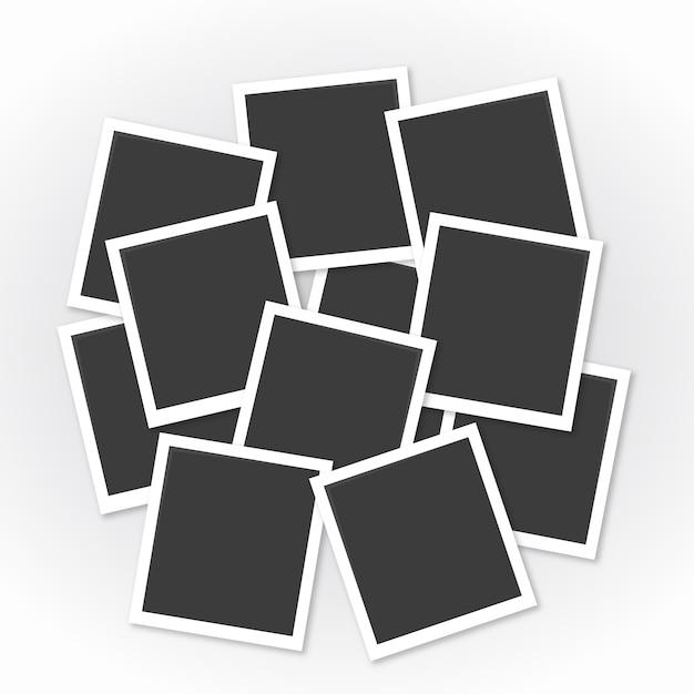 Colagem de molduras para fotos com design plano Vetor grátis