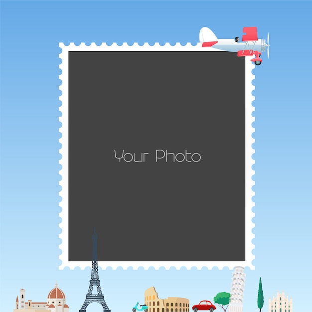 Colagem de molduras para ilustração de tema de viagem Vetor Premium