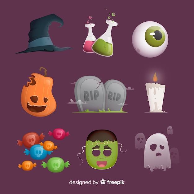 Colagem, de, vário, halloween, elementos Vetor grátis