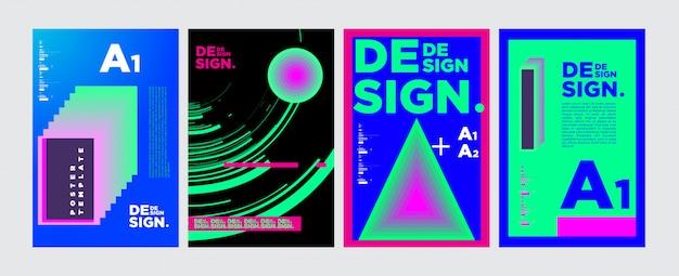 Colagem geométrica abstrata poster design em cores vivas Vetor Premium